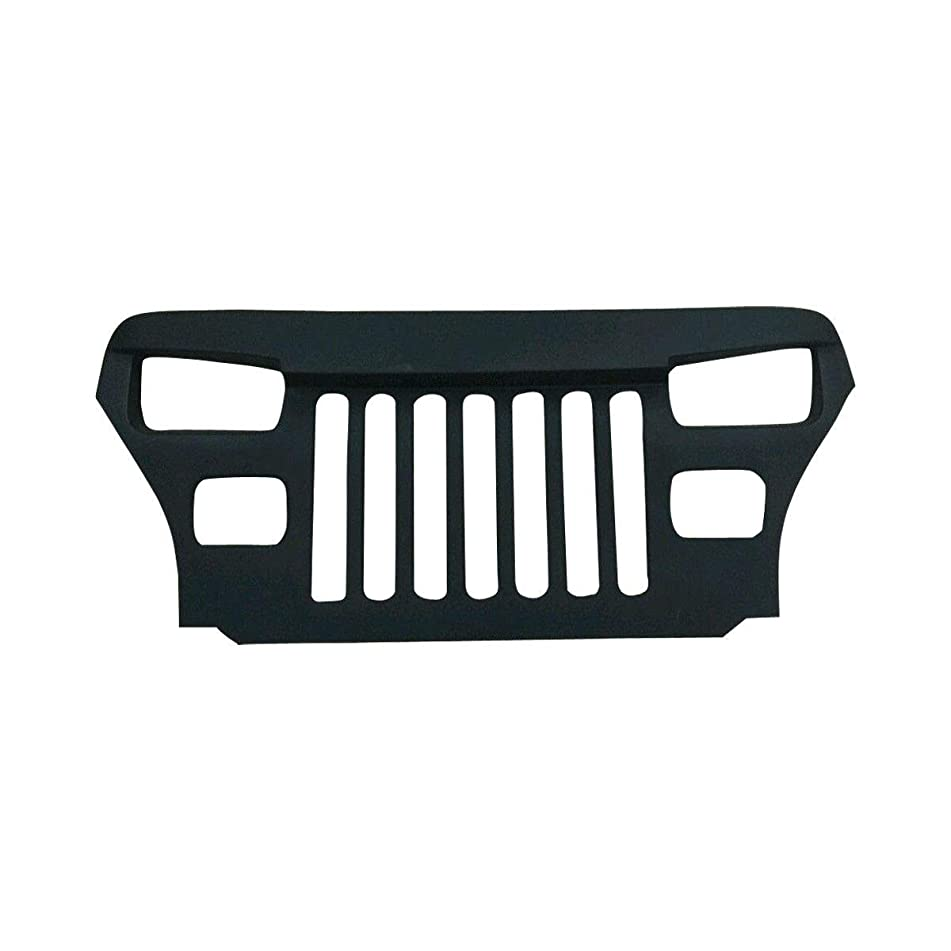 Kinley YJ Wrangler Overlay Grille for Jeep Wrangler - Mean and Furious Angry Bird Eyes Grill for 1987-1995 YJ Models - Front Grill with No Mesh Grid