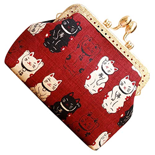 Luxshiny Buckle Coin Purse Cat Change Purse Coins Holding Bag for Outdoor Home