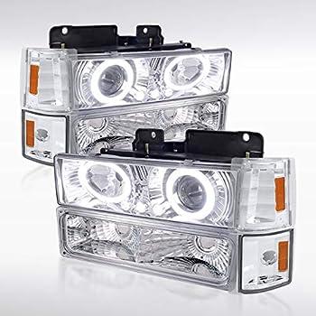 Autozensation For GMC C/K C10 Sierra Chrome Halo Projector Headlights+Corner Bumper Lamps
