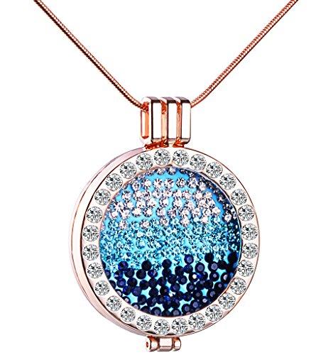 Preisvergleich Produktbild Unendlich U Kreativ Rosegold Damen Halskette Blaues Meer Legierung Kristall Austauschbare Münze Anhänger Vertellbare Pullover Kette