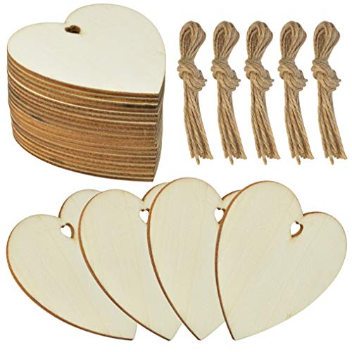 obmwang 50 Pieces 3' Natural Heart Wood Slices, DIY Wooden Ornaments Unfinished Predrilled Wooden Heart Embellishments with Natural Twine for Valentine's Day, Wedding, Thanksgiving, Christmas