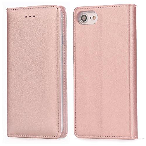 Handy 7 Hülle,IPHOX Handyhülle iPhone 8 Lederhülle Schutzhülle Tasche Leder Flip Hülle Wallet Stylish mit Standfunktion Brieftasche Etui für Apple iPhone 7 / iPhone 8 Cover (4,7 Zoll) - Roségold /E