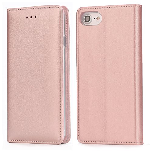iPhone 8 Leather Case, iPhone 7 Leather Case, IPHOX Premium Folio Leather Wallet Case with [Kickstand] [Card Slots] [Magnetic Closure] Flip Notebook Cover Case for iPhone 7/8,Rose Gold/E