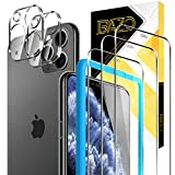 BAZO 3 Pack Screen Protector Tempered Glass and 2 Pack Camera Lens Protector for iPhone 11 Pro (5.8 inch),9H [Alignment Easy Installation Frame] HD [Case Friendly] Clear Film