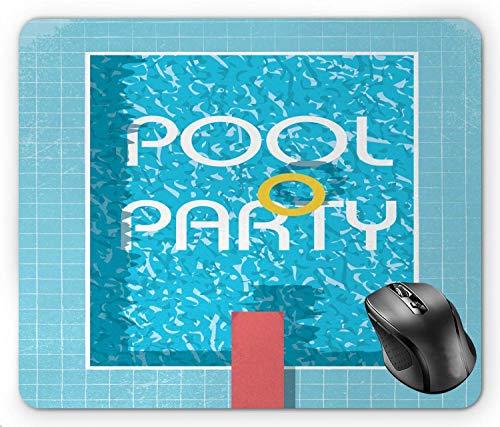 Pool Party Modernistische Illustration von Retro-Stil Schwimmbad Sprungbrett Cool Summer, Multicolor Mouse Pad