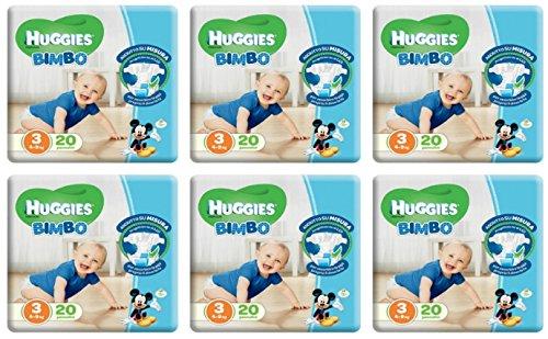120 Pannolini per Bambino Misura 3 Huggies Bimbo Pannolino taglia terza offerta