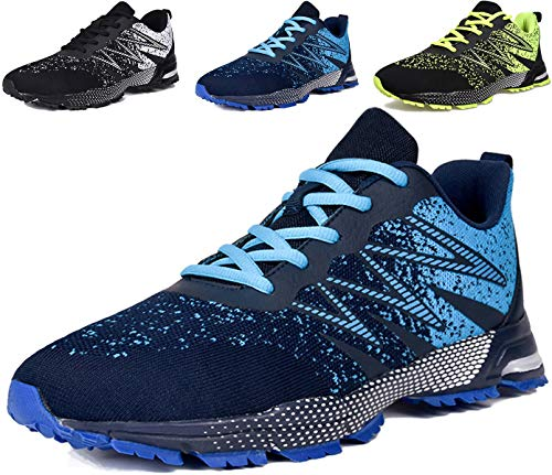 JACKSHIBO Sneaker Herren Laufschuhe Herren Leicht Sportschuhe Gym Turnschuhe Outdoor Schuhe Atmungsaktiv Freizeit Fitnessschuhe, Blau 42 EU