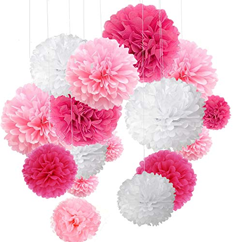 15er Set Pompoms Deko Bunt Seidenpapier Pompons für Hochzeit, Geburtstag, Party Rot Rosa Weiß (3pcs*30.5cm/6pcs*25cm/6pcs*20cm)