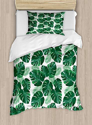 ABAKUHAUS Blätter Funda Nórdica, Monstera Pinnadas Palmeadas, Decorativo, 2 Piezas con 1 Funda de Almohada, 130 cm x 200 cm, Blanco y Verde de Jade