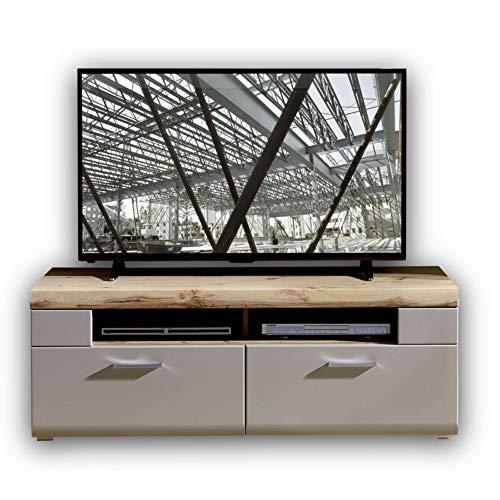 Stella Trading FUN PLUS 2 TV-Board in Basalt mit schönem Eiche-Dekor Oberboden - hochwertiges Low-Board für Ihr Wohnzimmer - 140 x 51 x 47 cm (B/H/T)