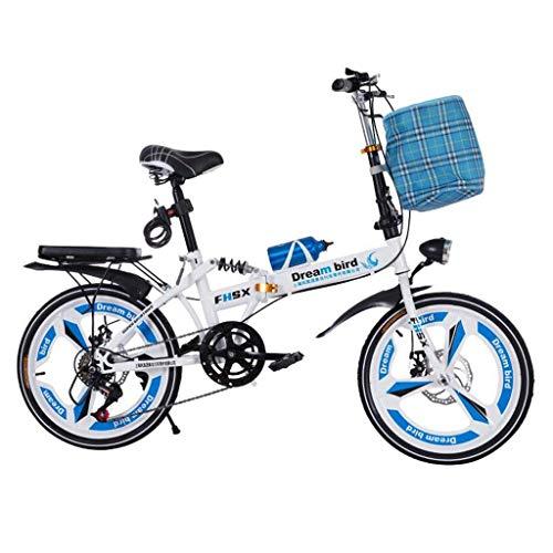 WLGQ Frenos de Disco Plegables de Bicicleta Plegables Absorción de Choque de 20 Pulgadas Bicicleta Plegable portátil Ultraligera Unisex (Color: Azul)