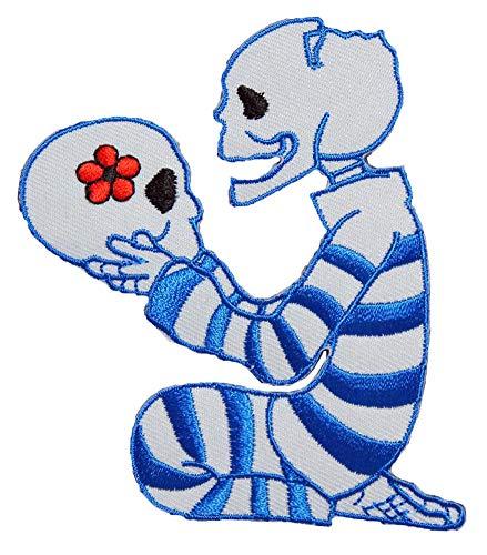 刺繍アイロンカスタムワッペン パッチ アップリケ【スカル、監獄の永遠の愛】ライトブルー スカル ドクロ ガイコツ パンク DIY 手作り リペア 飾り