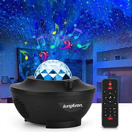 kungfuren Sternenhimmel Projektor mit LED-Nebelwolke, LED Projektor, Eingebautem Musiklautsprecher, Sternenhimmel Lampe für Party Weihnachten Ostern Halloween und Kinder Erwachsene Zimmer Dekoration
