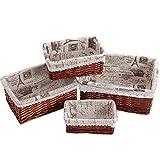 PentaQ Set of 4 Handmade Wicker Storage Basket, Maximum Size 15.7x 11.8 x 6.3 Inches, Woven Shelf Baskets Decorative Home Storage Bins Multipurpose Organizing Baskets with Cloth Linings