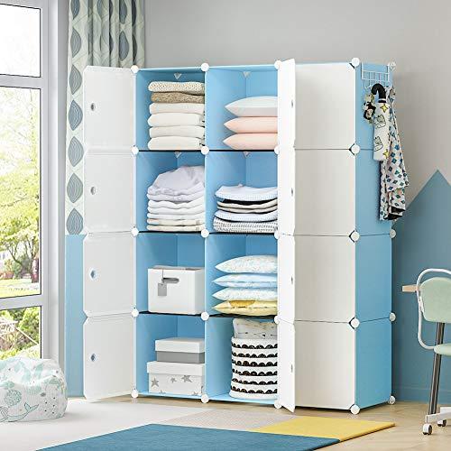 YOZO Portable Closet Wardrobe Cube Storage Organizer Cube Shelving Chest of Drawer Unit Multifunction Toy Cabinet Bookshelf DIY Furniture Blue 12 Cubes