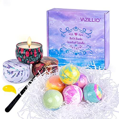 Bombas de Baño 6 con 3 Vela perfumada, Sales de Baño Relajantes y Divertidos, Regalo Cumpleaños Valentin Navidad para para Mujeres Novias y Niñas