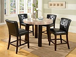 Roundhill Furniture Zanic 5-Piece Round Contemporary Faux Marble Counter Height Dining Set