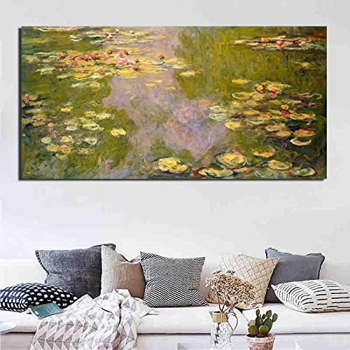 KWzEQ Berühmtes Künstlerplakat Seerose Leinwanddruck Retro Wohnzimmer Hauptdekoration Moderne Ölgemälde,Rahmenlose Malerei,40x80cm
