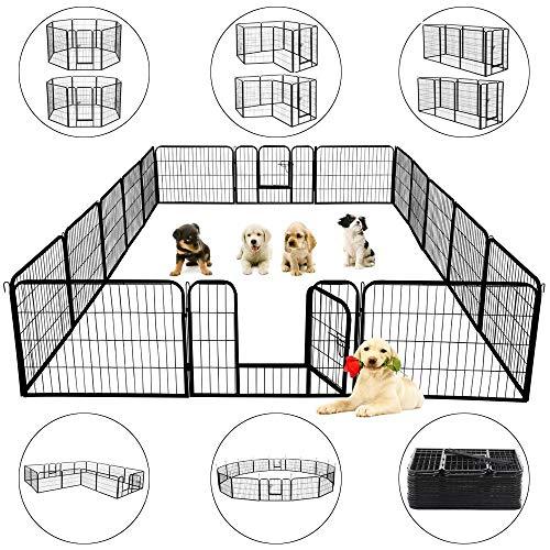 Topeakmart 24-inch Foldable Pet Dog Pen & Metal Pet Playpen Puppy Cat Exercise Pen Barrier Playpen Kennel Outdoor Indoor Black 16 Panels
