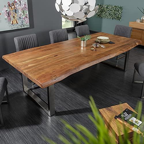 Invicta Interior Massiver Baumstamm Esstisch Mammut Nature 200cm Akazie 6cm Tischplatte Edelstahlbeine Konferenztisch Tisch Massivholz