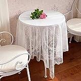 RONGER Mantel De Encaje Blanco Hueco De Malla Vintage Mantel Rosa Tela De Picnic Cubierta De Tela Tela De Fondo De Fotografía Mantel Francés (White Lace (no Seam),145 * 300CM)