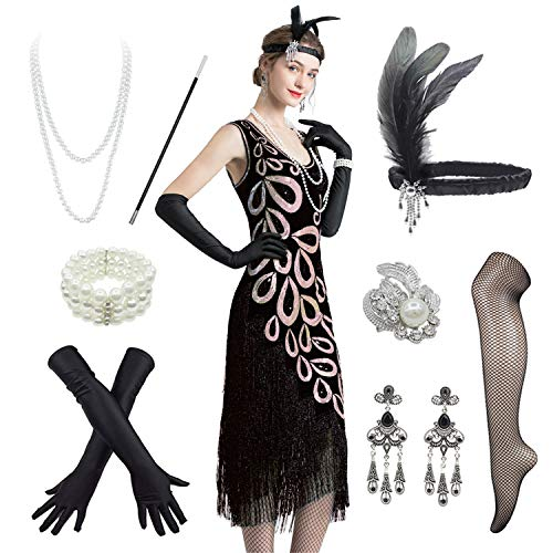 Women's Vintage 1920s Style Peacock Sequin Roaring 20s Gatsby Party Flapper Dress W/ 20s Accessories Set (12-14, Black)