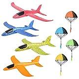 colmanda 4 Pcs Planos de Espuma + 4 Pcs Juguete de Paracaídas, Planeador de Espuma para Niños Juguete Paracaídas Set Mano Lanzamiento Glider Aviones Juguete Volador para Niños (D)