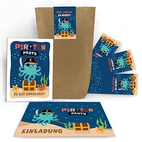 10 Einladungskarten Kindergeburtstag Jungen Mädchen Pirat Piraten-Party Einladungen Kinder incl. 10 Umschläge, 10 Tüten, 10 Aufkleber