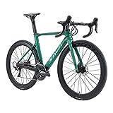 SAVADECK Bicicleta de Carreras de Carbono con Disco, 700C Bicicleta de Carreras de Carbono Completo con Grupo Shimano Ultegra R8000 22S y Sistema de Freno de Disco hidráulico (Azul, 54cm)