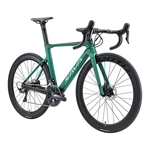 SAVADECK Bicicleta de Carreras de Carbono con Disco, 700C Bicicleta de Carreras de Carbono Completo con
