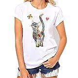 KEERADS Femme Fille T-Shirt Chat Imprimé T-Shirt Été Automne Simple Manches Courtes Col Rond Dame Tops(S,Blanc)