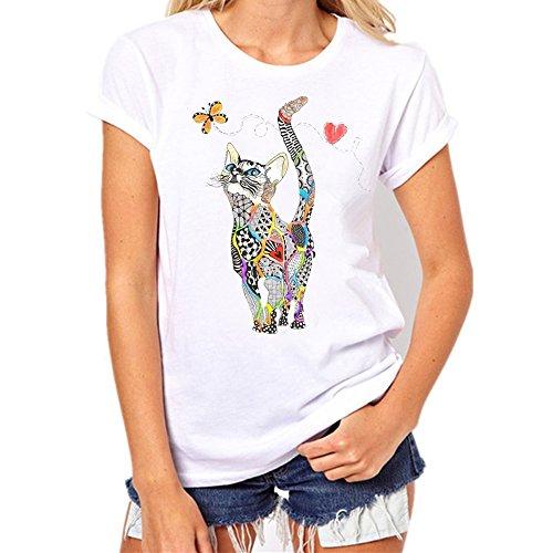 iHENGH Damen Top Bluse Bequem Lässig Mode T-Shirt Frühling Sommer Blusen Frauen Lose Oansatz Spitze der Art und Weisefrauen kurzärmliges Herz Druck(Weiß-10, S)