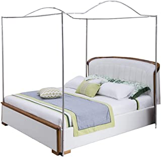 Mengersi Bedding Canopy Bed Frame Post,White (Full, Silver-Arched)