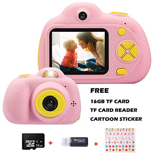 KIDOVE Kids Toys Fun Camera Child Selfie Digital Game Camcorder 8MP 1080P Dual Camera Video Recorder Creative Birthday Compact Cameras for Girls and Boys 16GB Card Included Pink