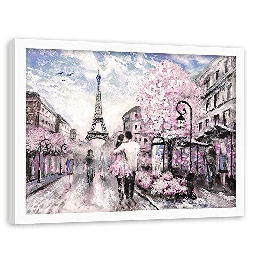 F FEEBY WALL DECOR Cuadro con Marco Blanco Paris Pintura Arte Gente Rosa 90x60 cm