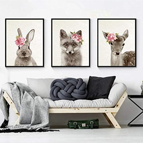 ZMFBHFBH Cuadros de Animales Impresiones y Carteles de Arte de ParedFlores Fox Fawn Conejo Cuadro de Arte de Pared Woodland Kids Baby Room Decor 60x80cmx3pcs Sin Marco