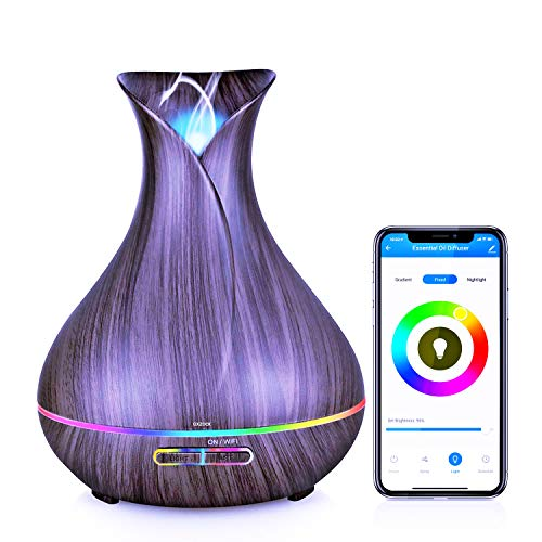 Humidificador Ultrasónico con Alexa echo, 400ml Difusor de Aromaterapia con google home integrado, nada de ruido, Difusor de Aceites Esenciales con wif, purificador de aire con LED de 7 colores de
