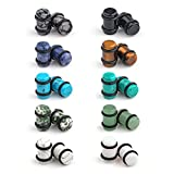 Ruifan 10 Pairs Set Natural Mixed Stone Saddle Ear Plugs Stretcher Expander Tunnels Gauges Piercing Jewelry with O-Rings 2g(6mm)