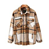 Womens Casual Flannel Wool Blend Plaid Lapel Button Down Long Sleeve Shacket Jacket Coat Winter Loose Oversize Shirts(Khaki, Medium)