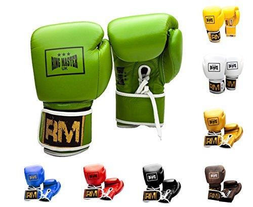 RingMasterUK - Guantes de Boxeo de Piel auténtica con Cordones (10 onzas), Color Verde