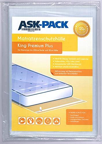 ASK Pack Premium Matratzenschutzhülle King für bis zu 200cm breite / 30cm hohe / 220cm Lange Matratze - mit vielfach wiederverwendbarem KLEBEVERSCHLUSS - Ultra stark 120µ