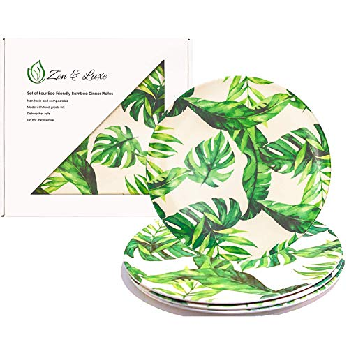 Reusable Plates | 10' Bamboo Fiber Dinner Plates (4 Pieces/Pack) | Friendly BPA Free dishes | Bamboo Plate Set | Dishwasher Safe | Monstera Green