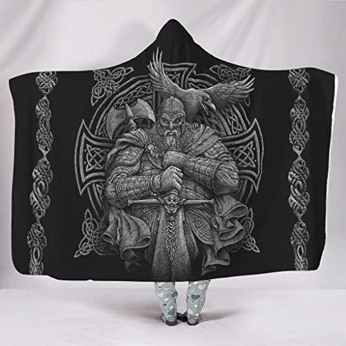 Batas con capucha Viking Odin de gran tamaño, para invierno, estilo retro, para oficina, para adultos, mujeres/hombres, color blanco, 152 x 203 cm