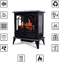 Calentador de Chimenea de Estufa eléctrica, Calentador de Estufa eléctrica Vintage de 1400 W, Chimenea de Llama 3D Independiente, Certificado por CSA