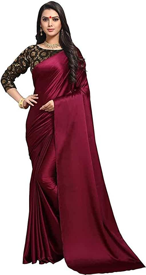 Indian DHARMEE Women's Plain Weave Satin Saree with Blouse Saree