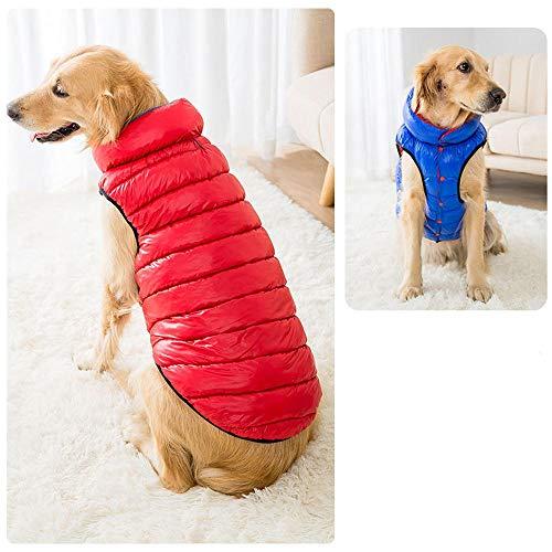 QKEMM Invierno para Mascotas Cachorros Abrigo de Algodón Chaleco Doble Faz Abrigo Ropa de Perro Pequeño Chaqueta Chaleco Caliente 4XL Rojo y Azul