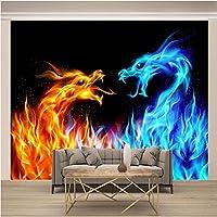QHZSFF 3D写真壁紙壁画 炎とドラゴン 壁の壁画壁紙3Dアート壁画リビングルーム寝室の装飾壁装材 140 x 100cm