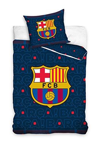 FC Barcelona Parure de Lit, Coton, Bleu Marine, 160x200+70x80 cm