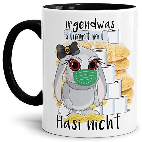 Tassendruck Anti-Hamster-Tasse mit Spruch Böses Hasi - Hamsterkäufe - Klopapier/Nudeln/Kaffee-Tasse/Corona-Virus 2020 / Geschenk Ostern - Innen & Henkel Schwarz
