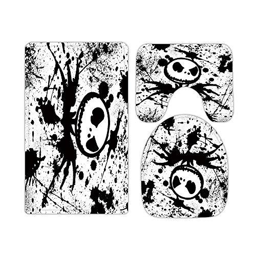 Skull Jack Nightmare Before Christmas Bathroom Rugs and Mats Sets 3 Piece, Memory Foam Bath Mat, U-Shaped Contour Shower Mat Non Slip Absorbent, Velvet Toilet Lid Cover Washable